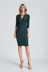 Dopasowana sukienka z przekładanym dekoltem - zielona