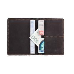 Czarny skórzany portfel slim wallet brodrene sw01