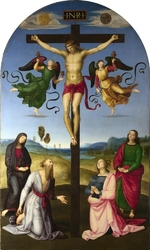 Reprodukcja the crucified christ with the virgin mary, saints and angels , rafael santi