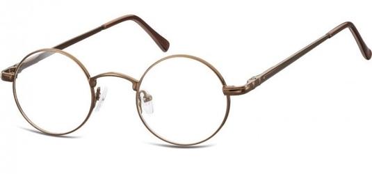 Okulary dziecięce zerówki okrągłe lenonki m5b brązowe