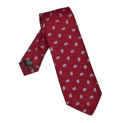 Elegancki czerwony krawat VAN THORN we wzór paisley