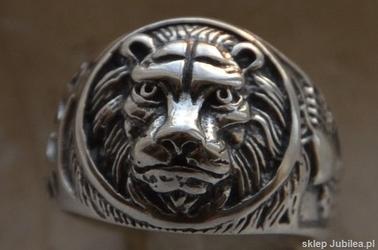 KRÓL LEW - srebrny sygnet pierścień