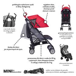 MINI by Easywalker Wózek spacerowy z osłonką przeciwdeszczową 6,5kg Union Red special edition