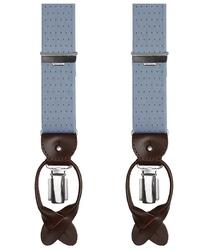 Szerokie jasnoszare szelki męskie do spodni, w brązowe kropki, na guziki lub na klipsy