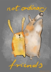 Królik i pies - plakat wymiar do wyboru: 50x70 cm