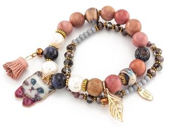 Bransoletka koraliki frendzle kot beżowa - różowa