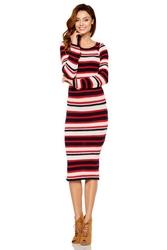 Granatowo czerwono beżowa  dopasowana sukienka swetrowa