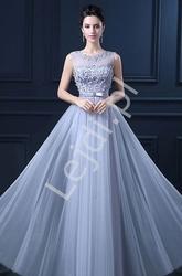 Szara sukienka wieczorowa zdobiona kwiatkami 3d z perełkami - kirsten