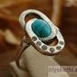 Sardynia - srebrny pierścionek z turkusem i kryształkami