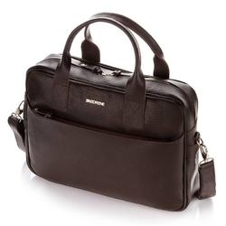 Skórzana torba męska na ramię laptop brodrene c12 ciemny brąz