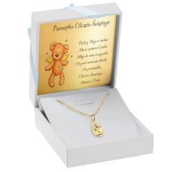 Złoty medalik w kształcie łezki z aniołkiem pr. 585 grawer - niebieska chłopiec