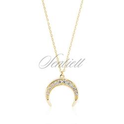 Srebrny pozłacany naszyjnik pr.925 - półksiężyc z cyrkoniami - żółte złoto