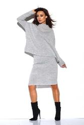Jasnoszary komplet półgolf +spódnica