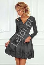 Grafitowa koronkowa sukienka wieczorowa  - amelia