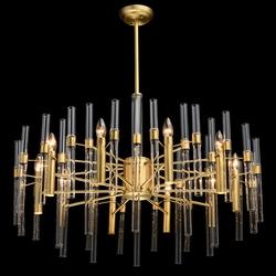Bardzo duża lampa wisząca na 10 żarówek, mosiądz i szklane rury mw-light 285010910