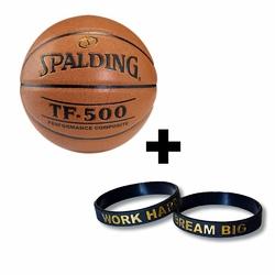 Piłka do koszykówki Spalding TF-500 + Opaska silikonowa Work Hard Dream Big