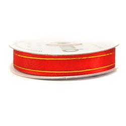 Wstążka szyfonowa ozdobna 15mm22m - czerwony - CZE