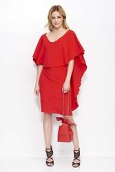 Czerwona Sukienka Do Kolan z Falbaną