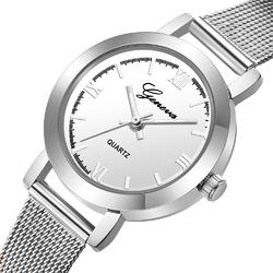 Zegarek damski GENEVA MESH srebrny biały - silver white