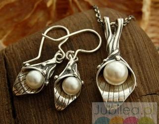 EMMA - srebrny komplet z perłą