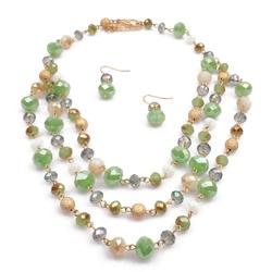 Komplet biżuterii kamyki zielony - zielony
