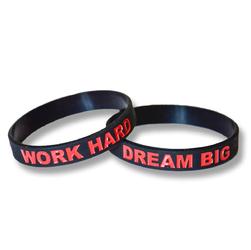 Opaska silikonowa Work Hard Dream Big - Czarno-Czerowny