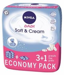 Nivea Baby Soft  Cream, chusteczki nawilżane dla dzieci, 4 x 63 sztuki