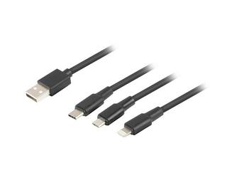 LANBERG Kabel combo USB AM - micro USB BM + Lightning M + USB CM 2.0     czarny PVC tylko ładowanie 1,8m