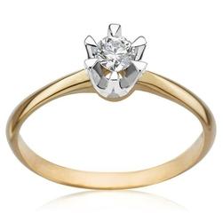 pierścionek żółte i białe złoto 58514k i diament