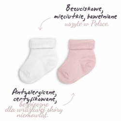 ColorStories Skarpetki bezuciskowe 2 pary białe i różowe 6-12 mies 11-12 cm