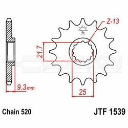 Zębatka przednia JT F1539-15, 15Z, rozmiar 520 2201386 Kawasaki EX 250