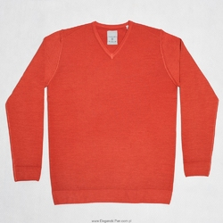 Sweter  pulower v-neck z wełny z merynosów czerwony XXL