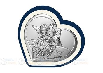 Obrazek BC64511BP Aniołki Pamiątka Chrztu 10 x 9,2 cm.