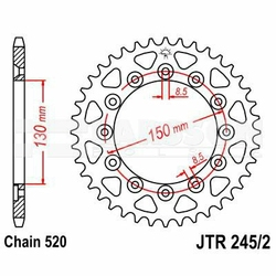 Zębatka tylna stalowa JT 2452-39, 39Z, rozmiar 520 2300039 Honda XL 350
