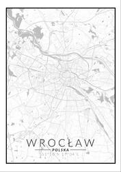 Wrocław mapa czarno biała - plakat Wymiar do wyboru: 21x29,7 cm
