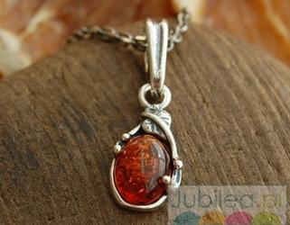 LLIBRE - srebrny wisiorek z bursztynem