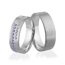Obrączki srebrne z kolorowymi kamieniami - wzór ag-300