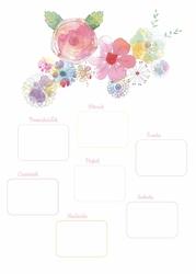 Tablica suchościeralna plan tygodnia kwiaty 374