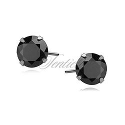 Srebrne kolczyki pr.925 czarna cyrkonia okrągła średnica 5mm - 5 mm