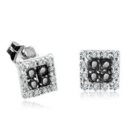Staviori Kolczyki. 24 Diamenty, szlif achtkant, masa 0,12 ct., barwa H, czystość I1. 8 Diamentów, kolor czarny, szlif brylantowy, masa 0,12 ct.. Białe Złoto 0,585. Szerokość 6 mm.