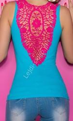 Turkusowy top z różową gipiurową koronką | turkusowa bokserka, bluzka klubowa