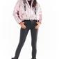 Krótka pikowana kurtka z holograficznego materiału - różowa