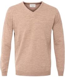 Sweter  pulower v-neck z wełny z merynosów beżowy l