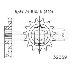 Zębatka przednia jt 50-32059-13, 13z, rozmiar 520 2201368 husqvarna wre 125