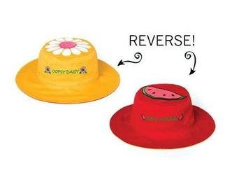 Dwustronny kapelusz flapjack - m - stokrotka  arbuz