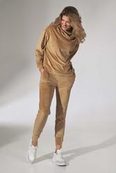 Dresowe spodnie z weluru - beżowe
