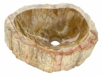 Umywalka ze skamieniałego drewna, kolor ochra