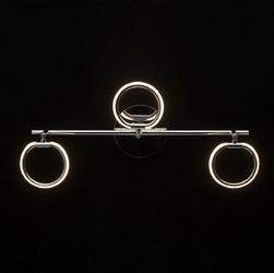 Chromowana lampa sufitowa trzy okręgi led demarkt techno 704024703