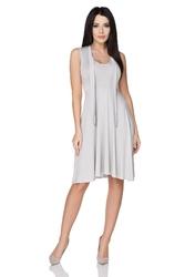 Zwiewna rozkloszowana sukienka wiązana na szyi jasnoszara t237