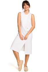 Biała trapezowa sukienka bez rękawów z guzikami